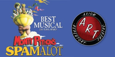 A picture of the logo for Spamalot the Musical.