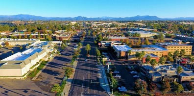 Aerial view of Hilltop Drive in Redding, CA.