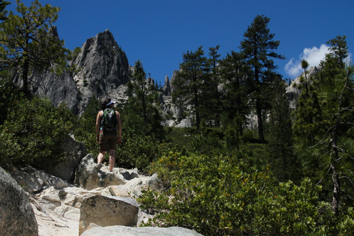 A woman at Castle Crags State Park.