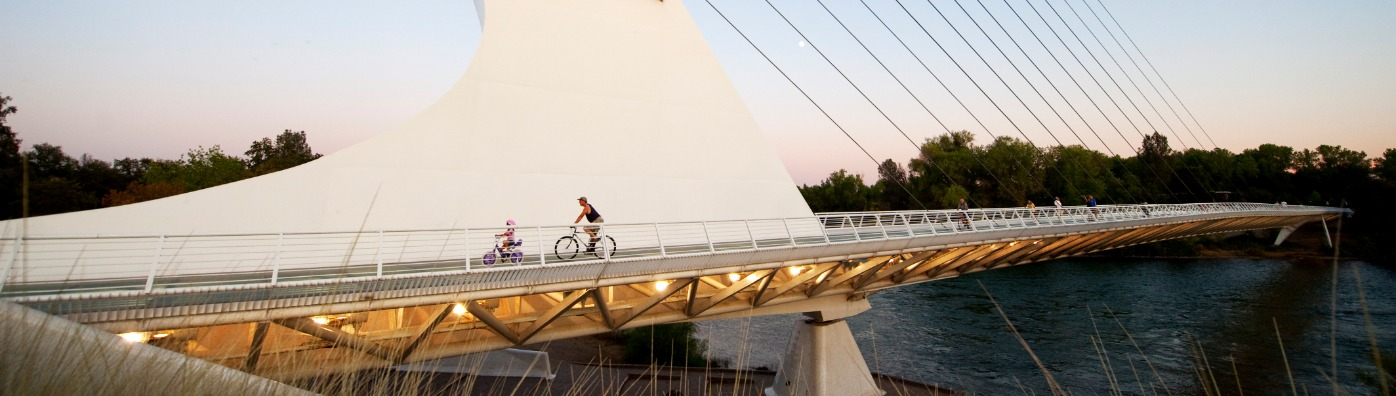 A bike ride across the Sundial Bridge in Redding, Ca
