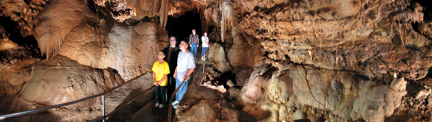 A family at Lake Shasta Caverns National Natural Landmark in Redding, CA.