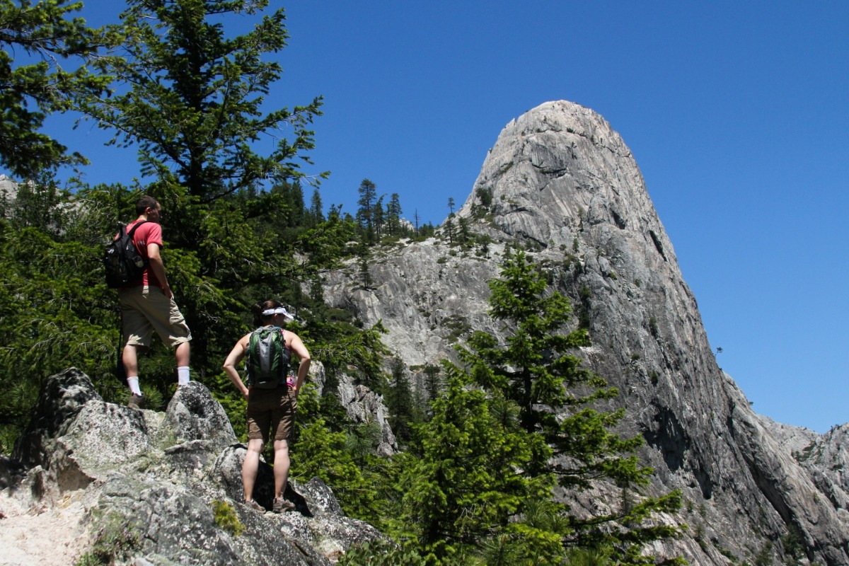 Two hikers at Castle Crags State Park.