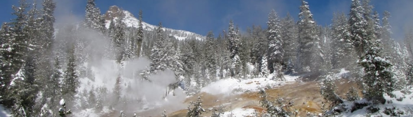 Lassen Volcanic National Park thermal features in winter.