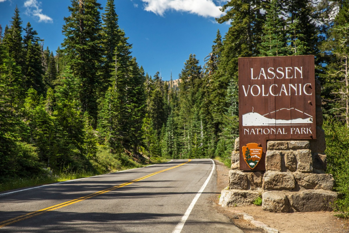The entrance to Lassen Volcanic National Park.