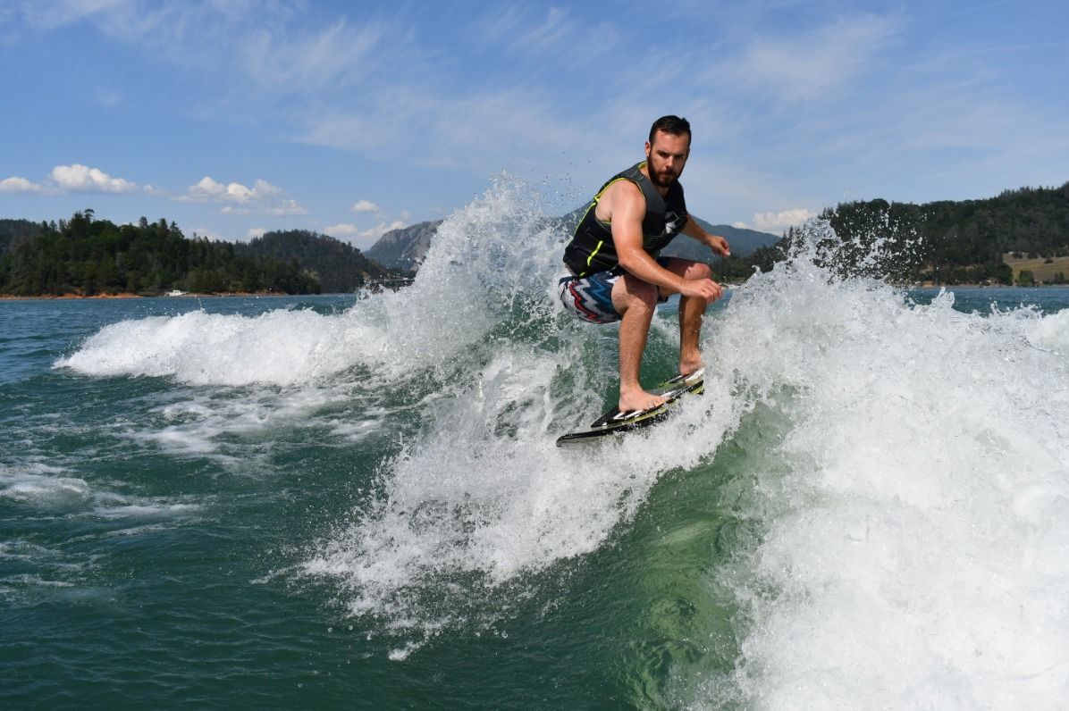 Man wake boarding at Shasta Lake