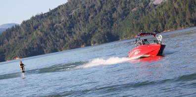 Man waterskiing at Shasta Lake.