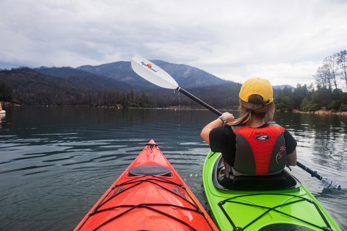 Woman kayaking at Whiskeytown National Recreation Area.