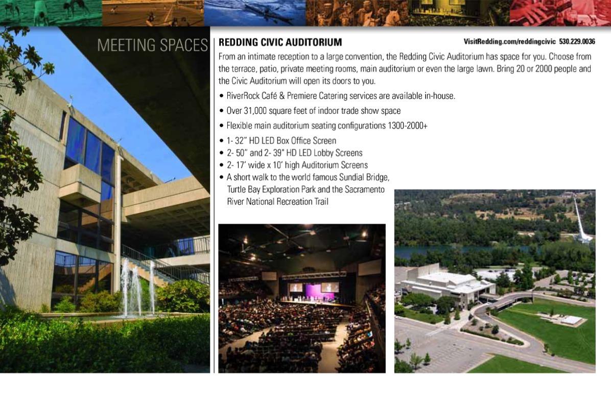 Diagram of meeting space at the Redding Civic Center in Redding, CA.