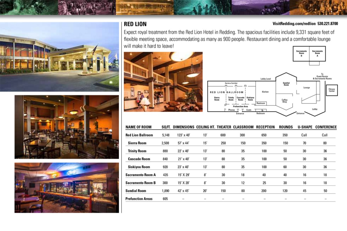 Diagram of meeting space at the Red Lion in Redding, CA.