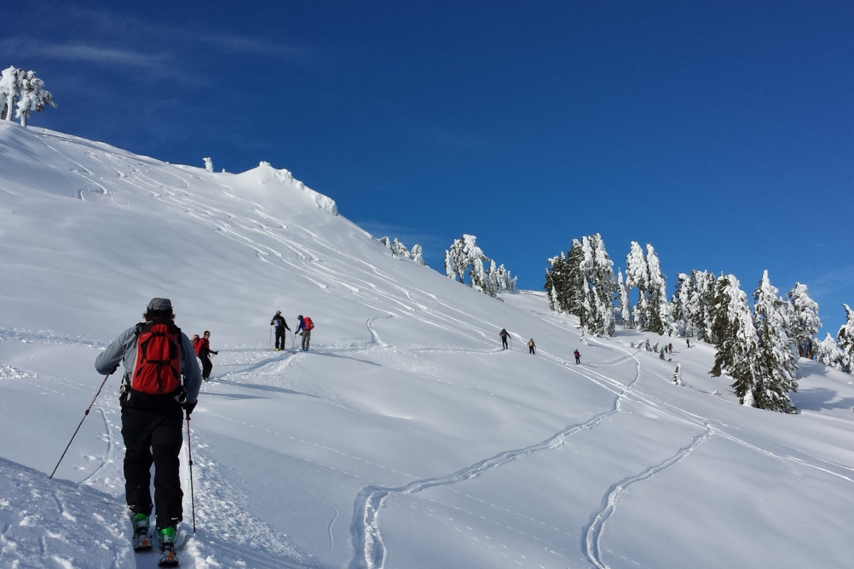 Cross country skiing at Lassen Volcanic National Park.