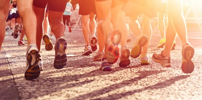 People running a marathon.