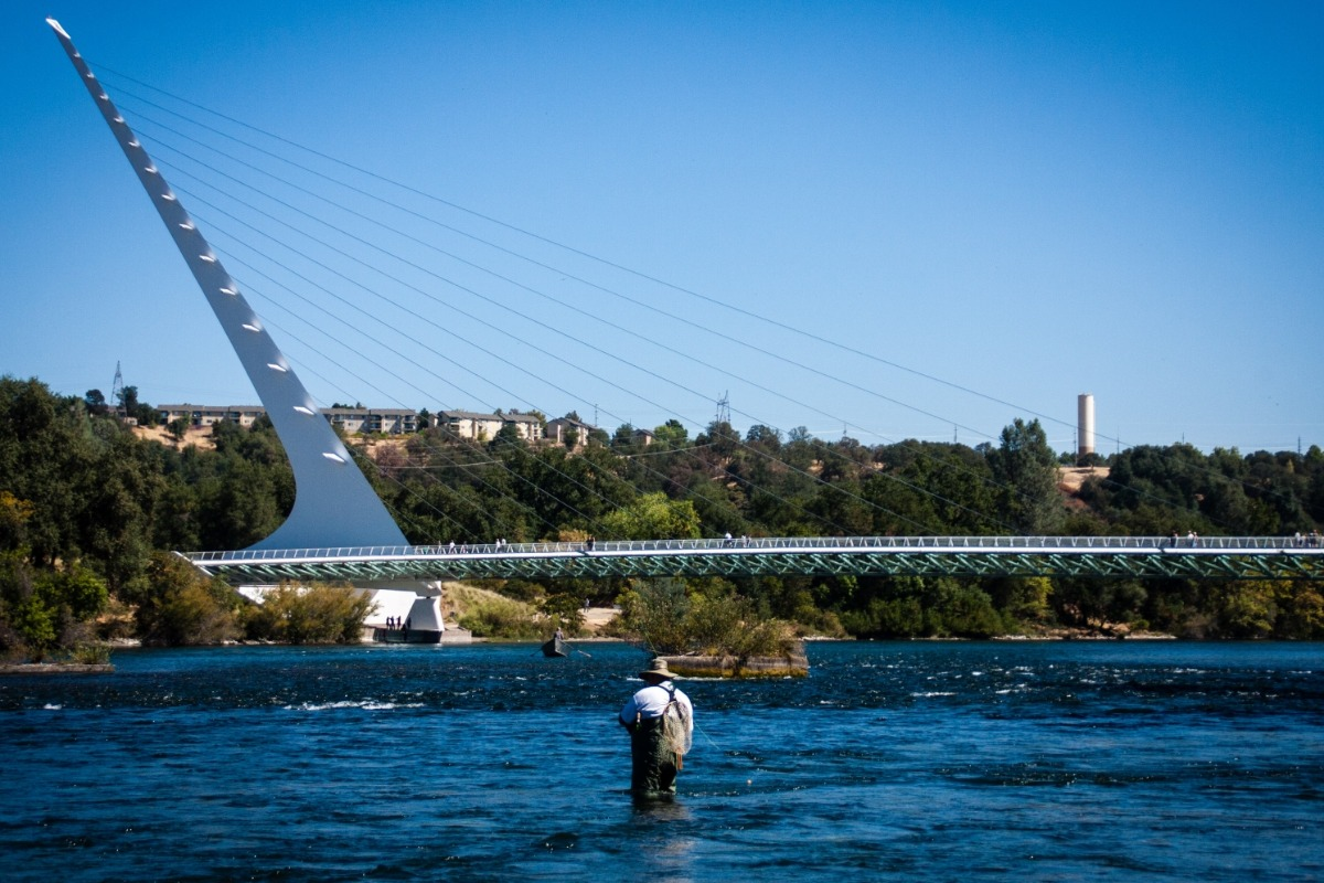 Man fishing beneath the Sundial Bridge in Redding, CA.