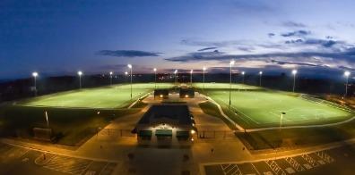 Night aerial shot of the California Soccer Park in Redding Cal